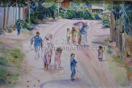 Ethiopian Figures in Landscape
