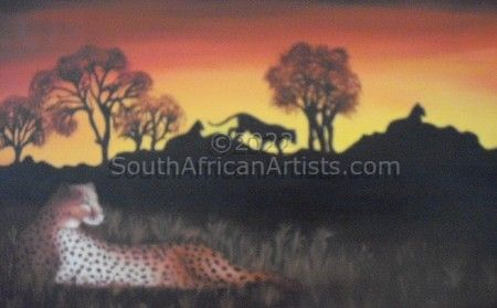Lions and Cheetah at Sunset