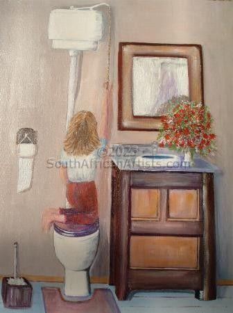 Bathroom Scene with Little Girl