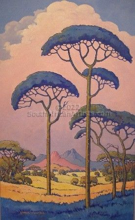 Landscape with Blue Trees ('Pierneef Style')