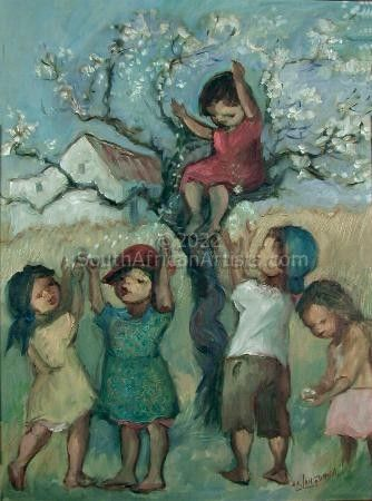 Children With Tree in Bloom