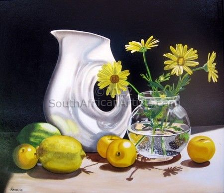 Still Life - Daisies with Fruit