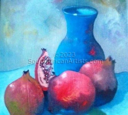 Blue Vase - Pomegranate