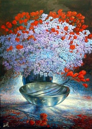 Silver Bowl & Flowers