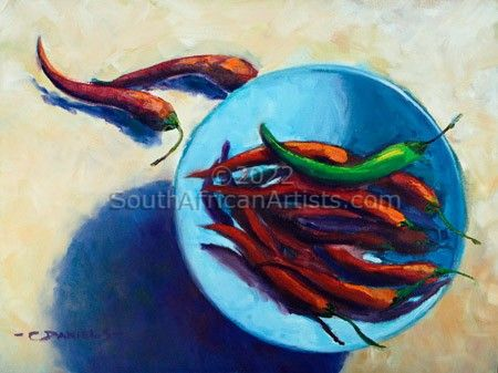 Chillies in a Small Blue Bowl