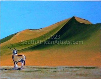 Namibian Solitude - Lone Gemsbok