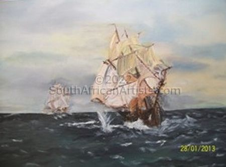 Old Tall Ships in Battle