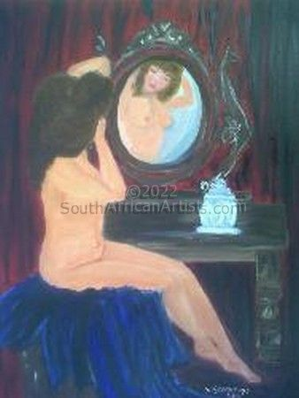 Nude lady in mirror