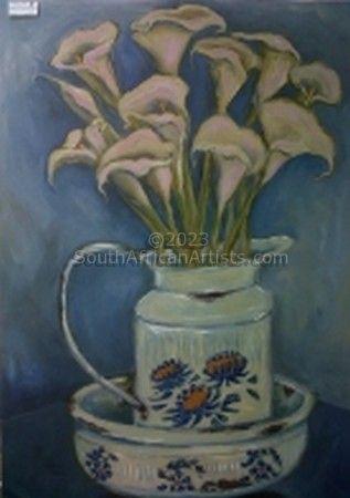 Arum lilies in Enamel Jug