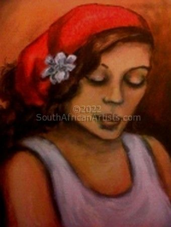 Girl with Red Pashmina, White Flower