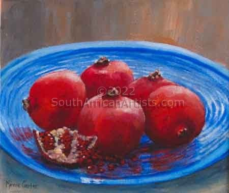 Pomegranates on Blue 1