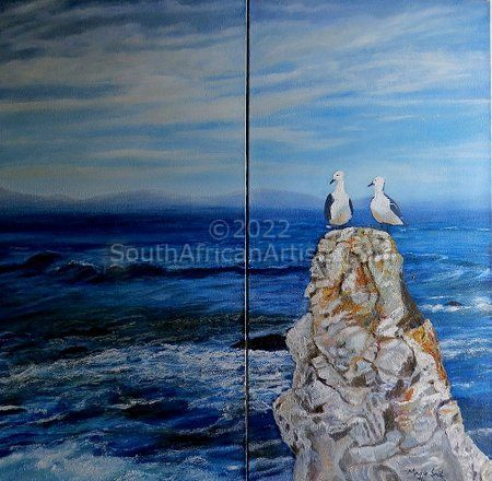 Seascape With Rocks and Seabirds