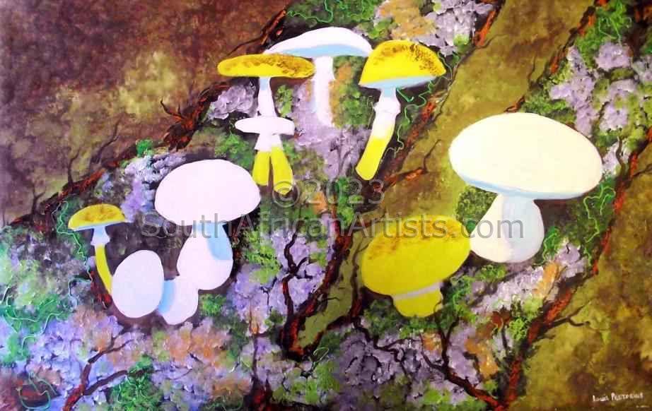 Mushrooms Growing on Treetrunk
