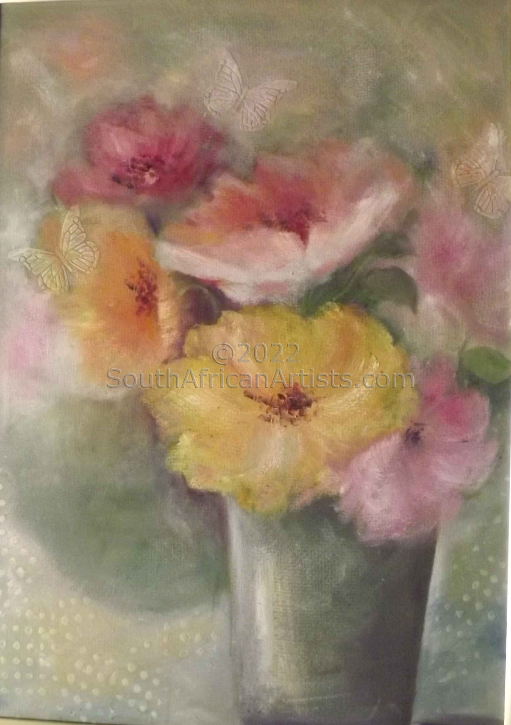 """Pastel Poppies and Butterfly"""