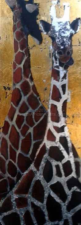 """Giraffe with Gold Leaf"""