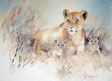 """Lioness and 2 Very Small Cubs"""