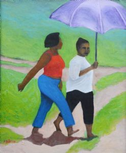 """Two Women Under an Umbrella"""