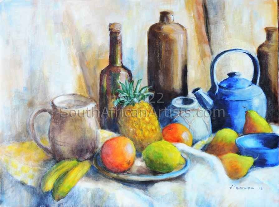 """Still Life with Pineapple and Blue Teapot"""