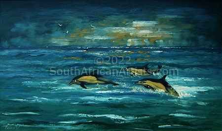 """Dolphins at Play"""