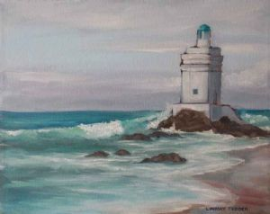 """Rough Sea Shelley Point Light House"""