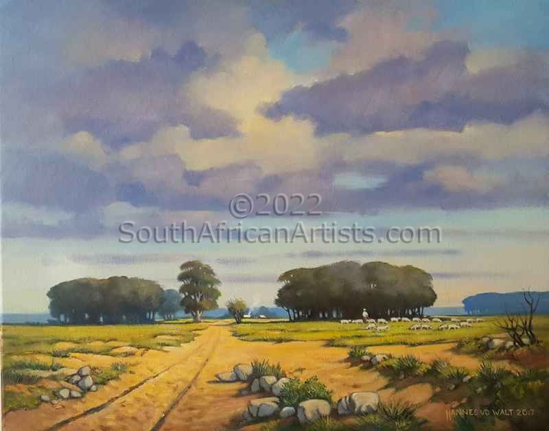 """Farm Landscape with Grazing Sheep"""