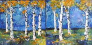 """Trees in Autumn, Diptych """