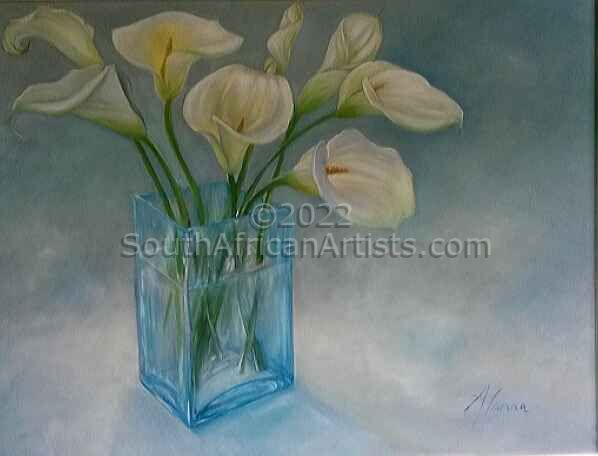 """Arum Lilies in Glass Vase"""