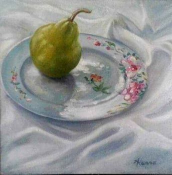 """Pear on a China Plate"""