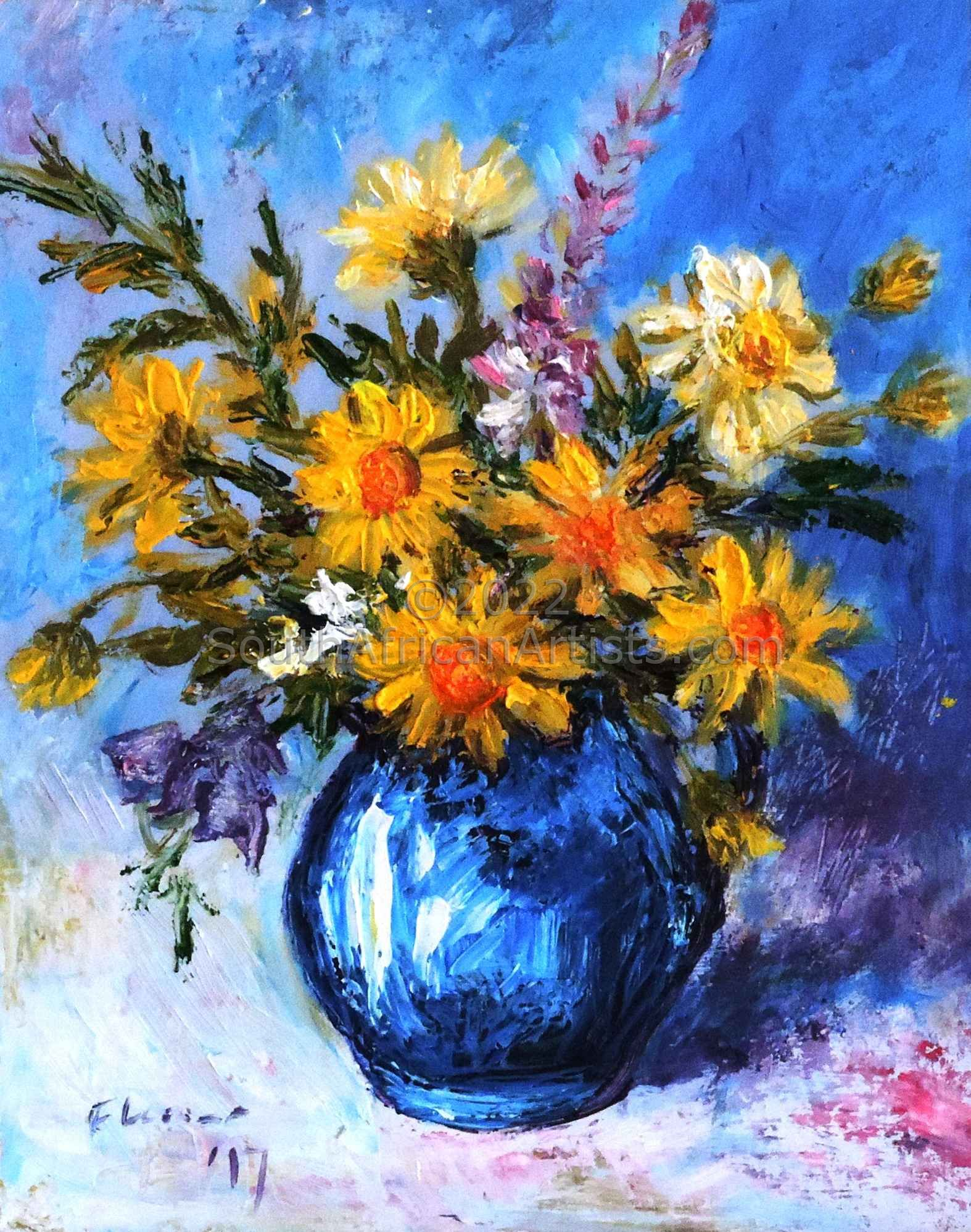 """Blue Jug with Daisies"""