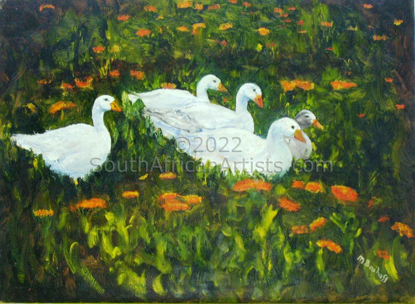 """Ducks in a Calendula Garden"""