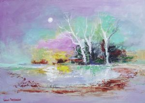"""Moonlight Reflections with White Trees"""