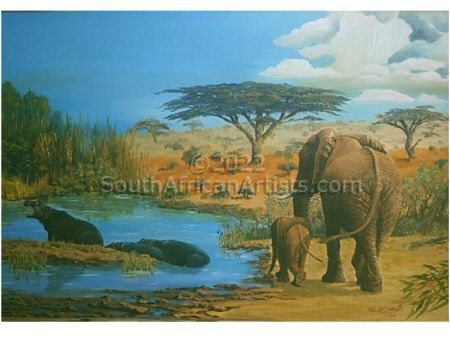 """Elephants and hippos in the African Landscape"""