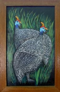 """Two Guinea fowls on leather"""