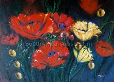 """Poppies in the Evening Glow"""