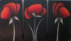 """Red Poppies Triptych"""