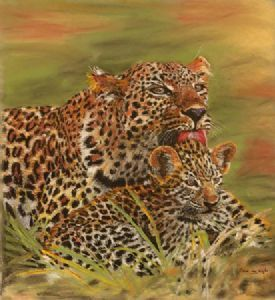 """Devoted Mother Leopard and Baby"""