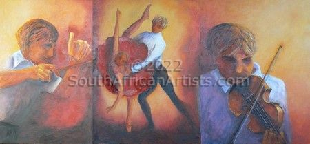 """Triptych: Conductor,Dancers,Violinist"""