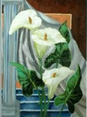 """Arum Lilies on Stairs"""