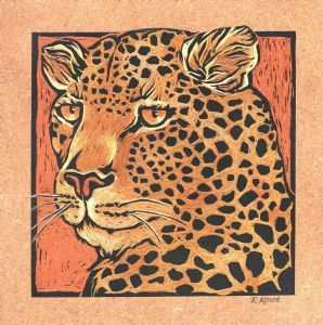 """Leopard - Coloured & Incised Woodcut Block 1/1"""