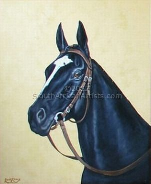 """Black Horse With Yellow Background"""