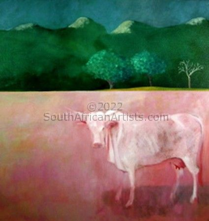 """Emhlope Cow on a Dry River Bed"""