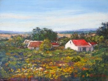 """Red Roofs and Veld Flowers"""