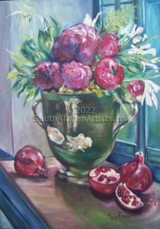 """Ceramic Pot & Pomegranate"""