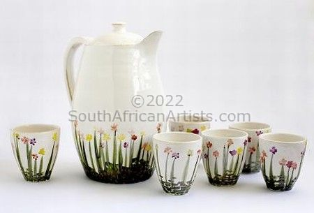 """Poppy Field (jug and 6 tumblers)SOLD"""