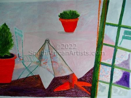 """Pink Tablecloth With Green Chairs"""