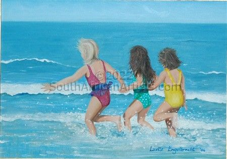 """Girls Playing in the Sea"""