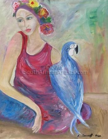"""Young Woman With Blue Bird"""