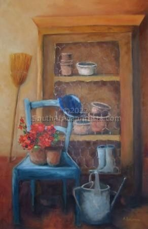 """The Gardener's Chair and Blue Hat"""