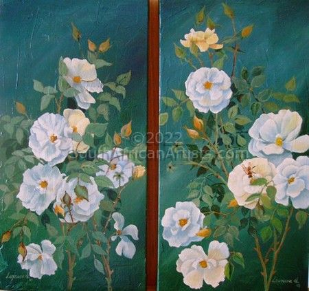"""White Dog Roses Diptych"""