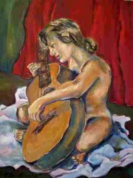 """Girl with crooked guitar"""